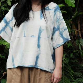 Blue dyed Japanese short board V-neck shirt Plaid handmade custom shirt