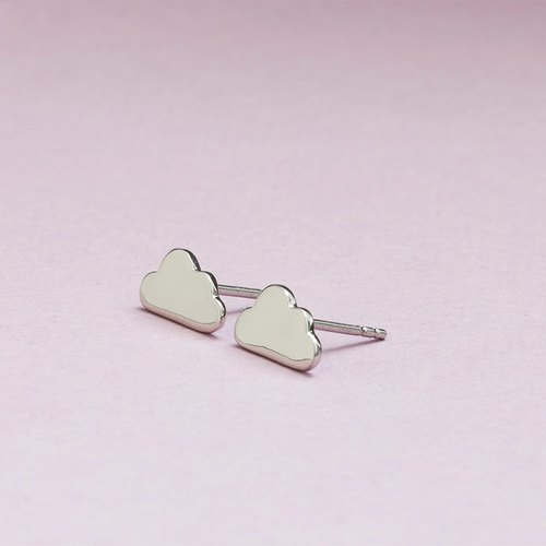Cloud Earrings in Brass with White gold plating