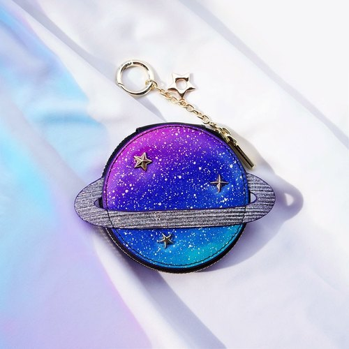 <Izzmi> psychedelic small planet cowhide purse ornaments shine sky stained coral
