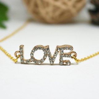 X alloy rhinestone necklace * LOVE (Gold Edition) * ➪ Limited X1