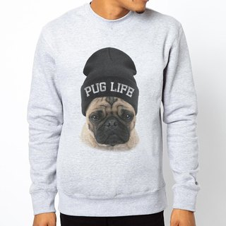 PUG LIFE American University bristles Cotton T- Bage Ba gray dog ​​canine dog fighting law text trendy fashion design