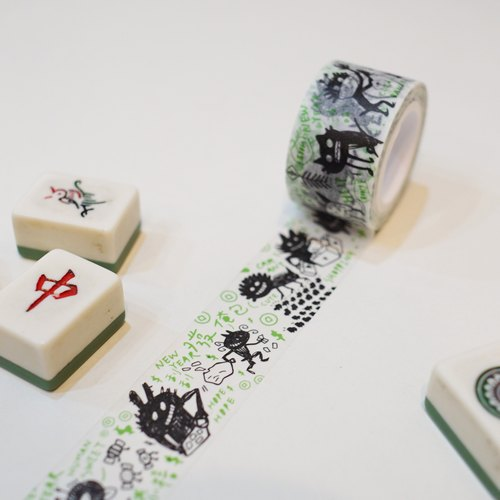 Indene Yin Taiwan | original paper tape - Friends of spring _ black and green