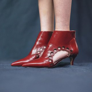 Two sides of the flower-shaped basket empty pointed leather ankle boots red