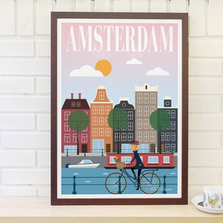 Scandinavian retro minimalist poster Amsterdam's beautiful Sunday original customized paintings without frame