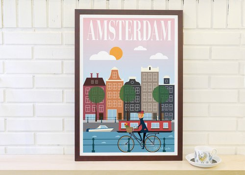 Nordic Retro Simple Poster Amsterdam Good Sunday Original Customizable Strips A4 A3 A2