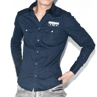 Appliqué standard dark blue long-sleeved shirt