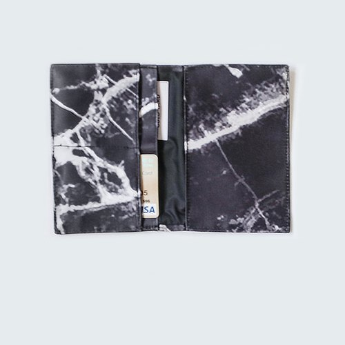 Customized black marble passport holder / Destination wedding gift