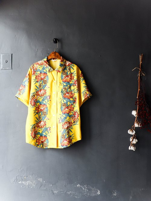 River water - Nagasaki mustard yellow spring flower bloom juvenile antique silk shirt shirt coat shirt oversize vintage