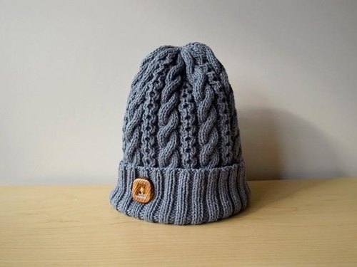 Dark blue cotton wool knit hat