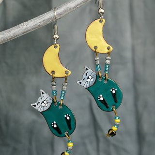 Turquoise Cat Earrings, Enamel Earrings, Moon and Cat, Enamel Jewelry,