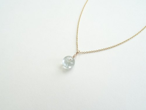 ::Daily Jewels:: Tourmaline Disc Candy Pendant Dainty 14K GF Necklace ◆ Aqua Blue