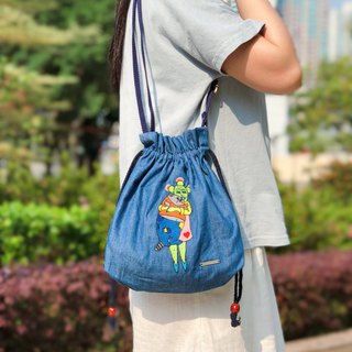 Embroidered Denim Drawstring Across-body Bag - Helpless Fat Cat