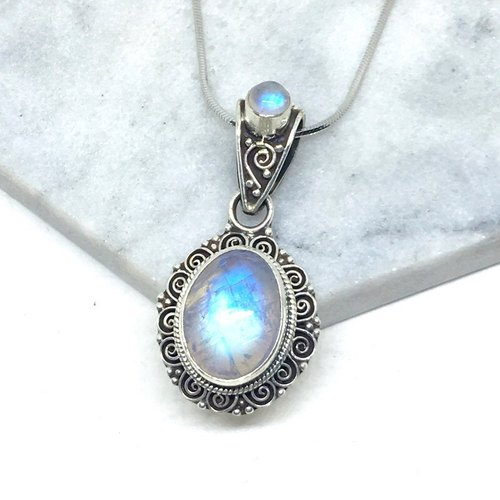 Moonlight stone 925 sterling silver double gem design necklace Nepal handmade mosaic production