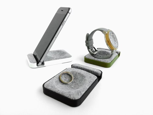 Unique multifunctional tray, Watch stand, Smartphone stand, Smart phone stand, Home sweet home Tray, Smartwatch, apple, iphone,  dock【ブラック】