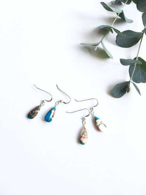 Oyester Copper Turquoise Earrings 14kgf / SV925