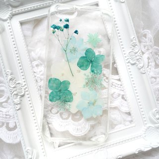 Teal Blue Real flower phone case - for iphone 5/5s/SE/6/6s/6 plus/6s plus/7/7plus/Samsung S4/S5/S6/S6Edge/S7/S7Edge/Note3/Note4/Note5