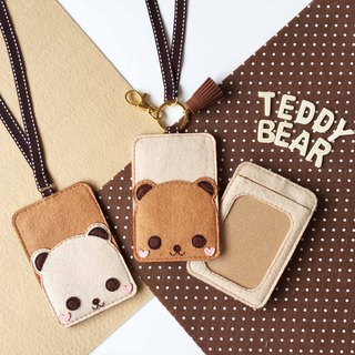 Teddy bear card holder with neck strap