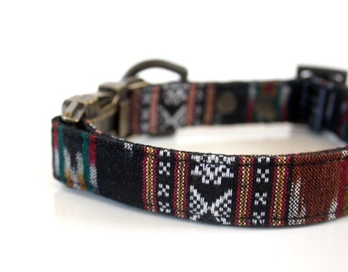 BOHO woven Dog Collar - black, brown- Antique Brass
