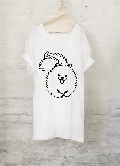 ポメラニアン Tシャツ【犬】 Pomeranian T-shirt (White/Gray)【DOG】