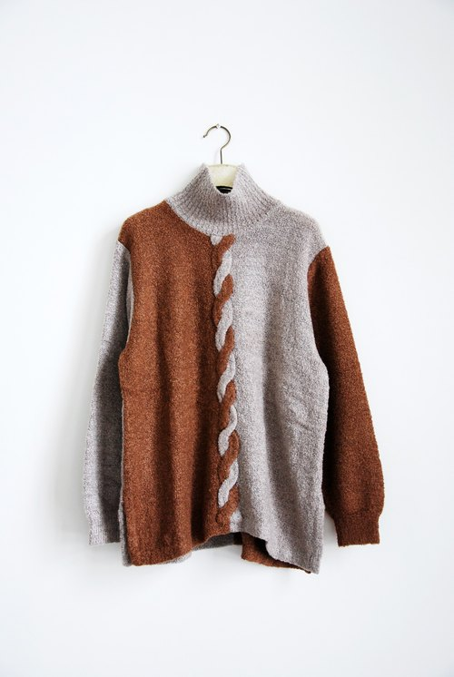 Pumpkin Vintage. A braised high collar sweater