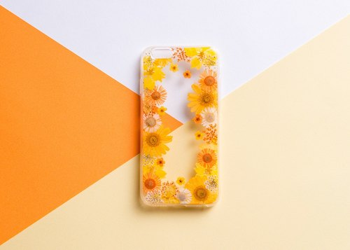 Real flowers embossed phone shell IPhone Samsung