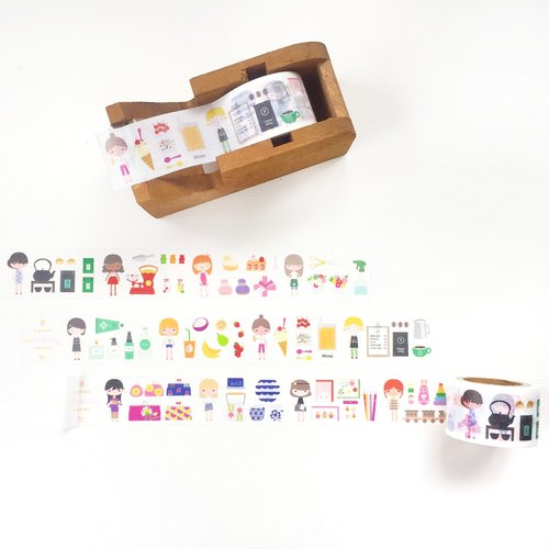 [Girl with her shop] shop small thing - paper tape