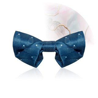 Style F0099 Royal Blue Mini Dots patt Bowtie -  Wedding Bowtie Folded style