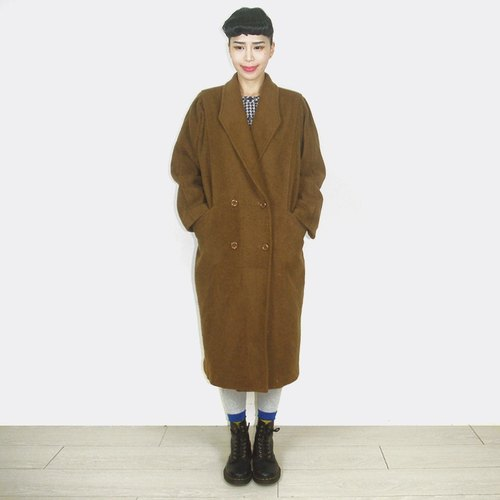(Limited time special) edition vintage brown long wool coat jacket AX3008