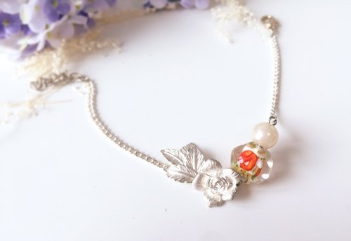 [Summer] MOONACY roses with orange glass beads bracelet
