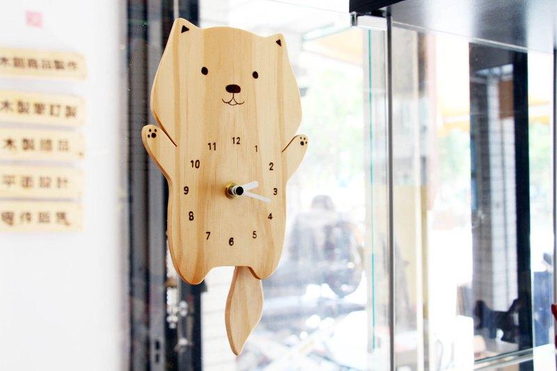 原木 動物造型搖尾巴時鐘 搖擺時鐘  擺鐘