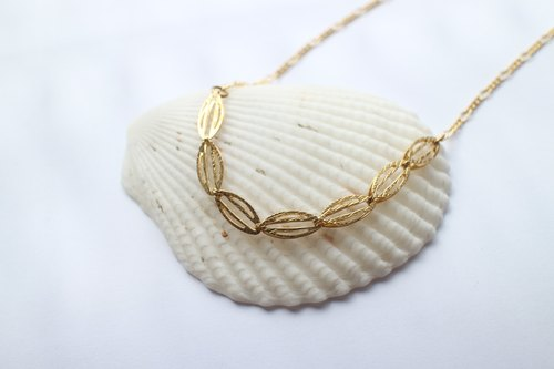 The leaf light~Brass handmade necklace