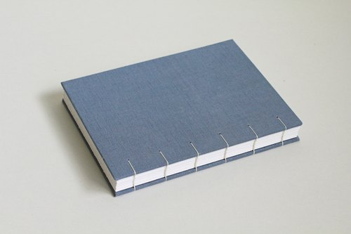 Hardcover Coptic Bound Notebook/Journal in Salvia Blue Ramie Cotton Cloth