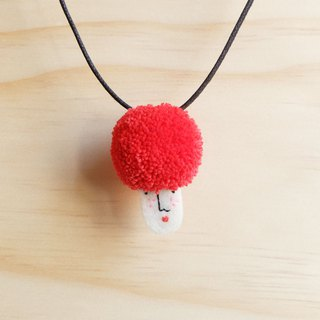 Miss Hairy Collection / Pom Pom Necklace / Red