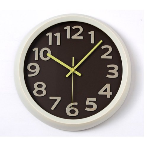 [019005-02] a.cerco Fami wall clock - simple series (four colors optional) - wood grain - coffee
