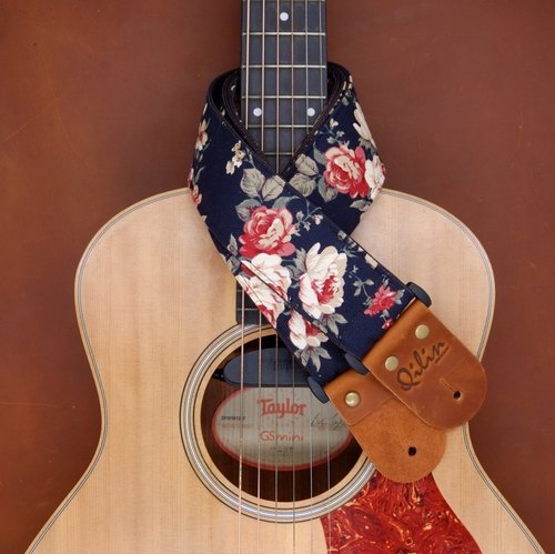 Navy Flower Fabric Guitar Strap