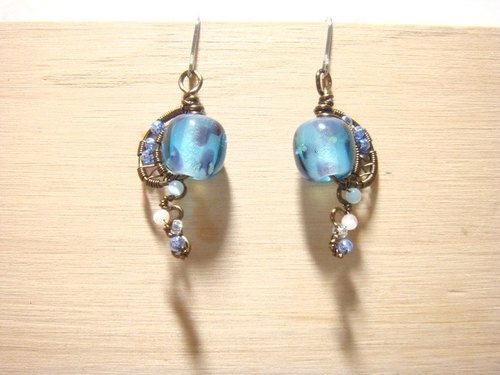 Grapefruit handmade glass - butterfly dance - design paragraph glass earrings - (can be another folder type)