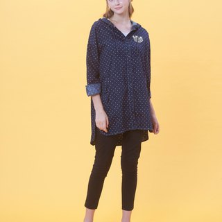KB Spring/Summer Hooded Long Dotted Shirt 823F713 (Reminder: Specify color when ordering)
