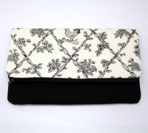 Foldover zipper clutch, cosmetic bag, wedding purse, makeup pouch, bridal, bridesmaid gifts set, cotton purse, travel bag (Ref. FZ13)