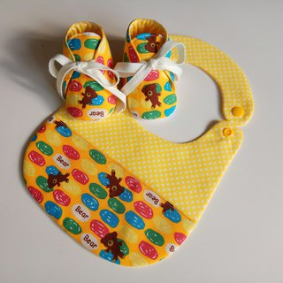 <Yellow> Candy Bear Miyoshi Gift Baby Shoes + Baby Bib