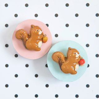 Childhoood Squirrel with mushroom pinecone Brooch