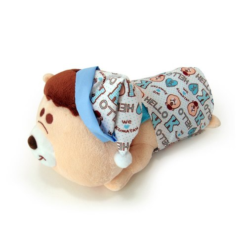 WC Bears authorization [KUMATAN series modeling KUMATAN powder blue pajamas genuine authorized] Department of Small Things healing super soft fuzz fuzzy doll creative life texture of the material plus -CARDAMOM card A