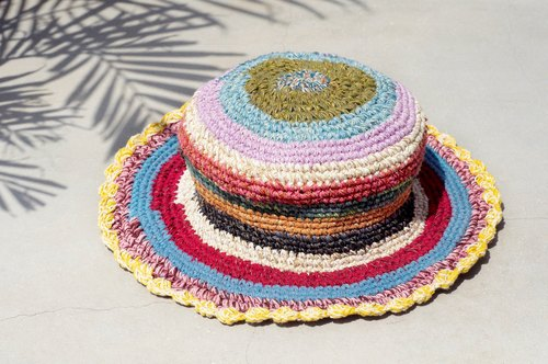 A limited edition of hand-woven cotton cap / knit cap / hat / straw hat - warm color stripe lace Forest
