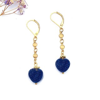 <Blue Love> Natural Crystal Clusters Crystal Bud Brass Earrings Minimalist Geometric Personality Valentine's Day