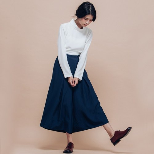 Gentle breeze side buckle wide hakama treetops on - blue fine grid