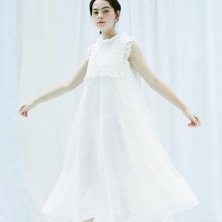 lace pompom dress with movable bib