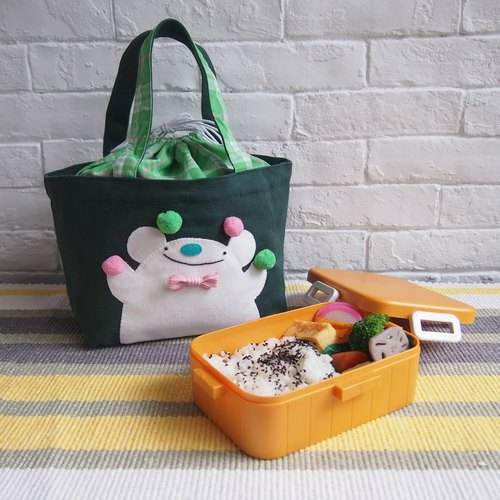 【Juggle the White Bear】Bigsoil x Goodafternoonwork White Bear AlphaBAG Lunch | designate letter · hand craft · canvas bag | green