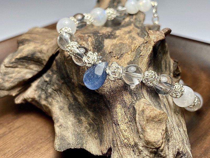 藍水晶+白水晶+月光石圓珠925純銀手鍊