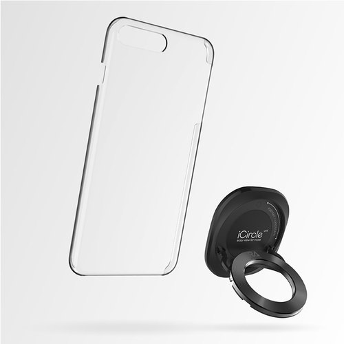 [Rolling Ave.] iCircle Uni iPhone 7 plus multi-bracket protective shell - black black ring