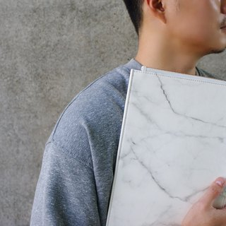 L-type marble pattern flat bag (white)