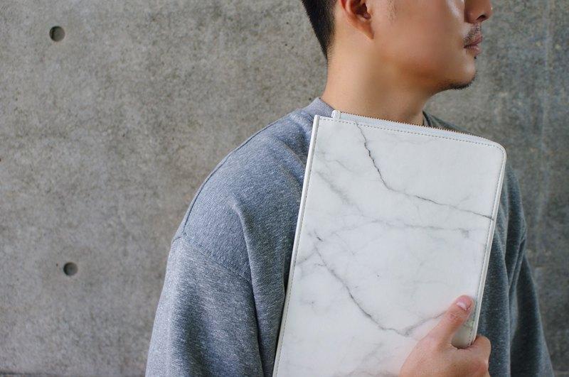 L型大理石紋平板包(白)